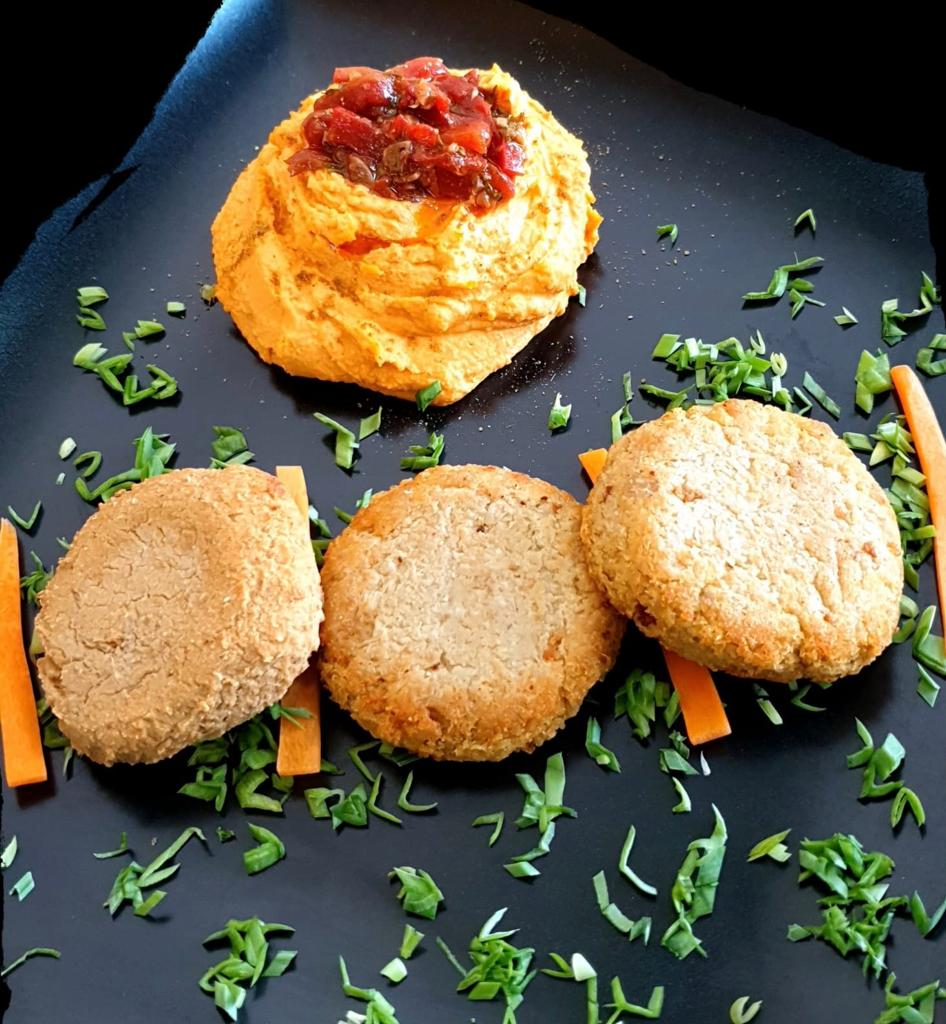 Mini yam burgers with hummus