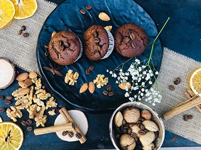 Chocolate blueberry muffin